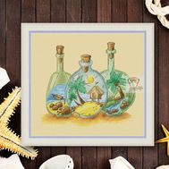 Sea Bottles Cross stitch pattern Summer Memories