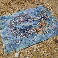 Sea Cross stitch pattern Mandala Whale}