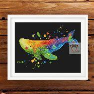 Sea Cross stitch pattern Rainbow Whale}
