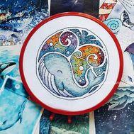 Sea cross stitch pattern Happy Whale}