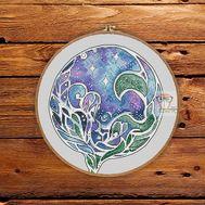 Sea cross stitch pattern The Wave}