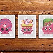 Shopkins cross stitch pattern embroidery pdf