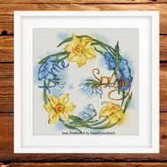 Spring Cross Stitch pattern Dancing Flowers framed