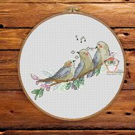 Spring Cross stitch pattern Bird Trio}