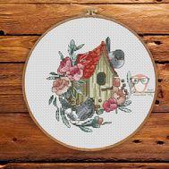 Spring Cross stitch pattern Birdhouse}