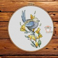 Spring Cross stitch pattern Blue Bird}