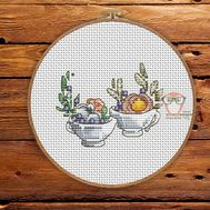 Spring Cross stitch pattern Flower Cups}