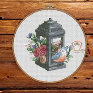Spring Cross stitch pattern Lantern}