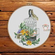 Spring Cross stitch pattern Vintage Birdcage}