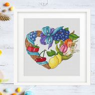 Spring Heart Wreath cross stitch pattern