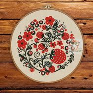 Strawberry wreath floral cross stitch pattern