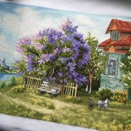 Summer Cross stitch pattern Lilac Tree