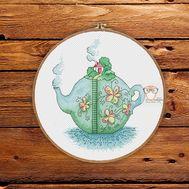 Summer Cross stitch pattern Teapot