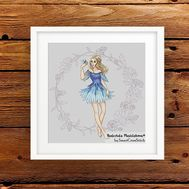 {en:Summer cross stitch pattern Cornflower Girl;}
