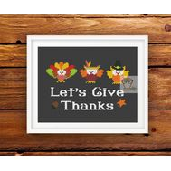 Happy Thanksgiving cross stitch pattern