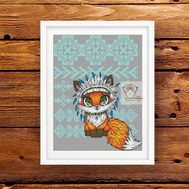 Tribal Cross stitch pattern Little Fox}