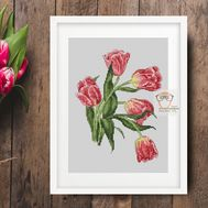 Tulips cross stitch pattern flower pattern