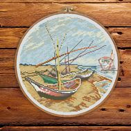Van Gogh cross stitch pattern Boats