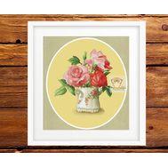 Vintage cross stitch pattern Pink Roses in a Jar