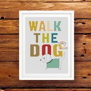 Walk the Dog Cross Stitch Pattern