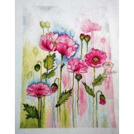 Watercolor Poppies cross stitch pattern