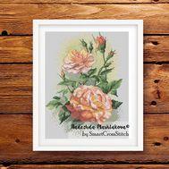 {en:Watercolor cross stitch pattern Roses;}