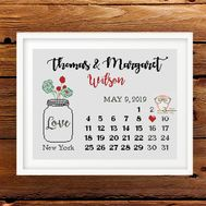 Wedding cross stitch pattern Roses & Calendar