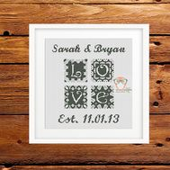 Wedding cross stitch pattern sampler Love