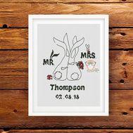 Wedding sampler cross stitch pattern Mr and Mrs bunnies