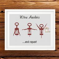 Wine Aerobics funny cross stitch pattern