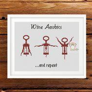Wine Aerobics funny cross stitch pattern