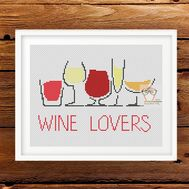 Wine Lovers funny cross stitch pattern
