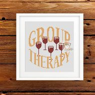 Wine Therapy funny cross stitch pattern