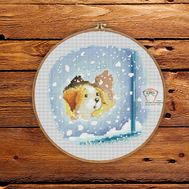 Free Winter Puppy cross stitch pattern picture