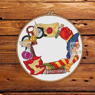 Wreath cross stitch pattern Hogwarts Secrets