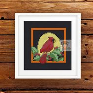 ''Red Cardinal'' Christmas card cross stitch pattern