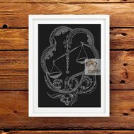 Zodiac Sign Cross stitch pattern horoscope Libra}
