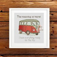 ''Travel by Bus'' retro cross stitch pattern