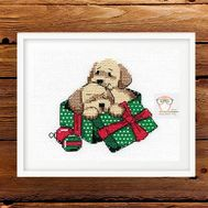 Free Cross Stitch ''Puppies'' for New Year