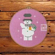 ''Snowman'' Christmas Stocking cross stitch pattern
