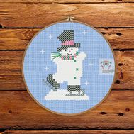 ''Snowman Skater'' Christmas Stocking cross stitch pattern