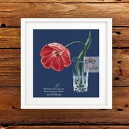 Floral free cross stitch pattern Tulip framed