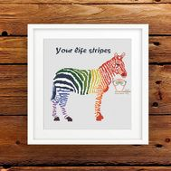 Rainbow Zebra Cross stitch pattern