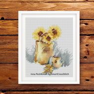 Autumn Cross Stitch pattern Sunflowers