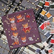 Baby Cross stitch pattern Little Deer Foxes}