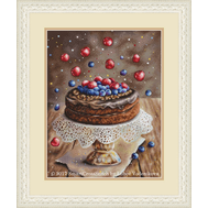 Birthday cross stitch Cake with Berries