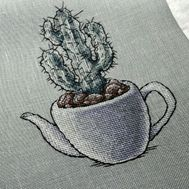 Cactus in a Teapot cross stitch pattern stitched