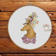 Christmas Cross stitch pattern Deer Stag}