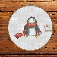 Christmas Cross stitch pattern Penguin}