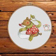 Christmas Cross stitch pattern Xmas Piggy}